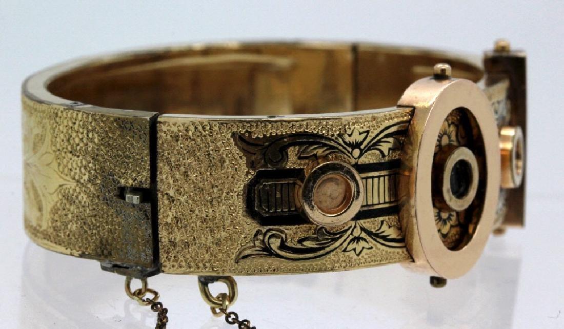 Victorian Gold Filled & Enamel Buckle Bangle Bracelet - 2