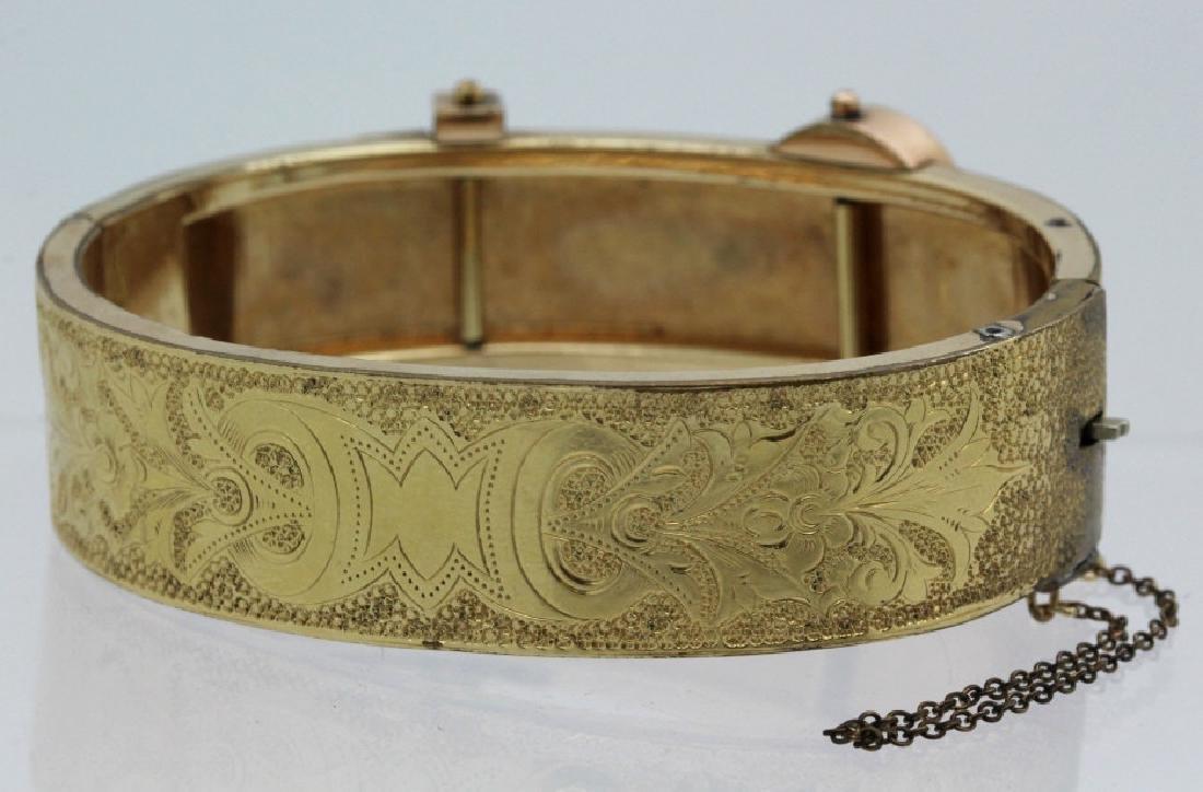 Victorian Gold Filled & Enamel Buckle Bangle Bracelet - 3