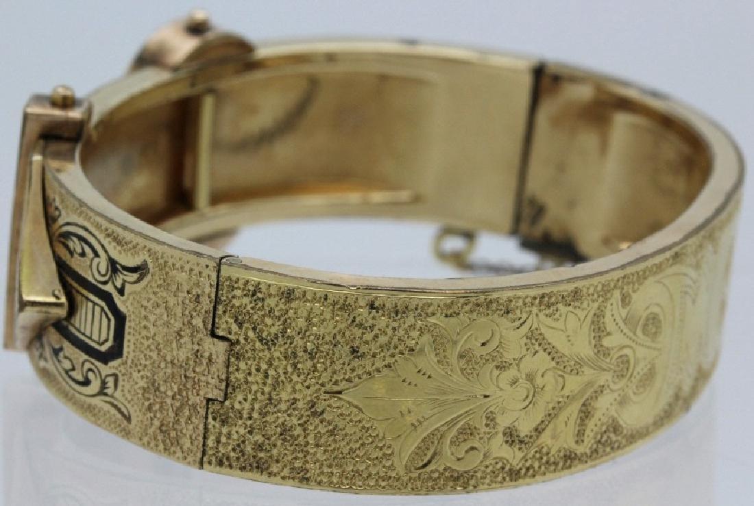 Victorian Gold Filled & Enamel Buckle Bangle Bracelet - 4