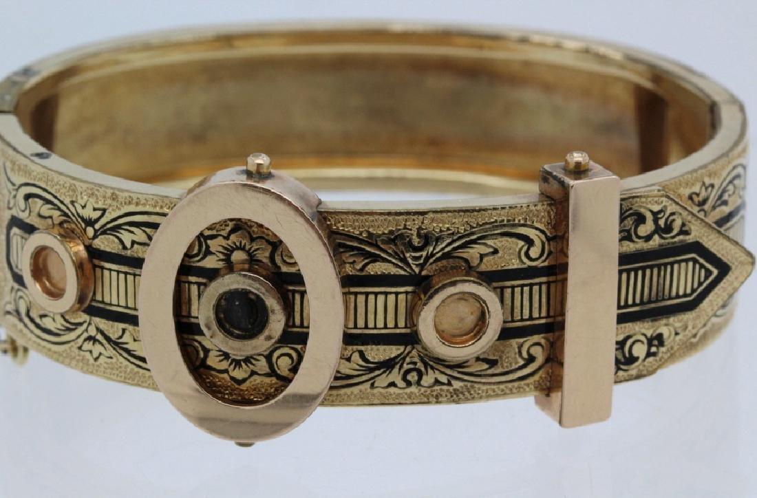 Victorian Gold Filled & Enamel Buckle Bangle Bracelet - 5