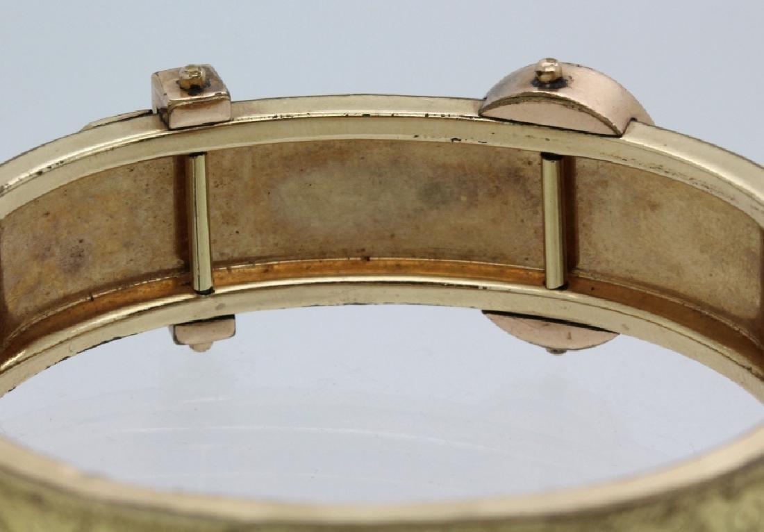 Victorian Gold Filled & Enamel Buckle Bangle Bracelet - 7