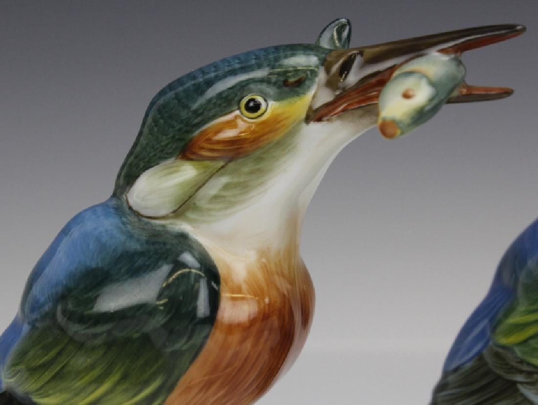 PAIR Herend Porcelain Kingfisher Bird Statue Figurine - 3