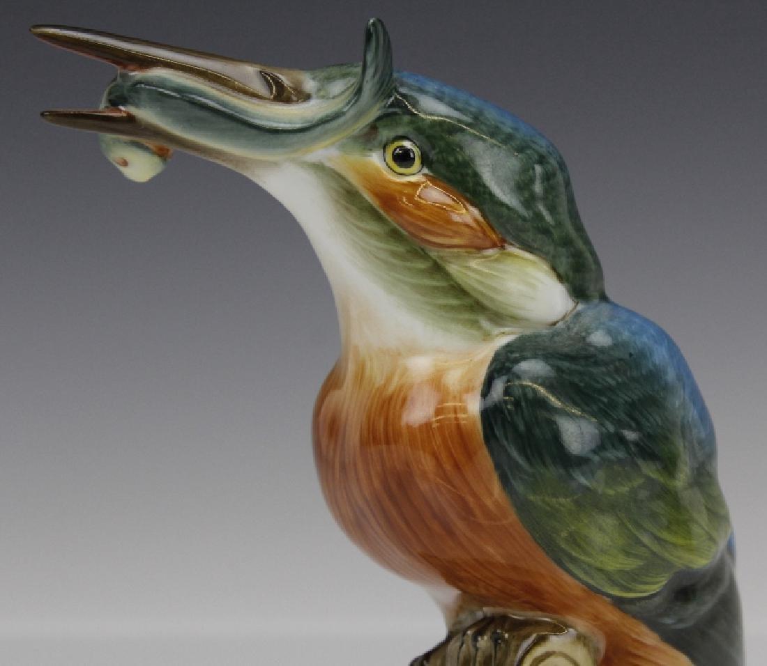 PAIR Herend Porcelain Kingfisher Bird Statue Figurine - 4