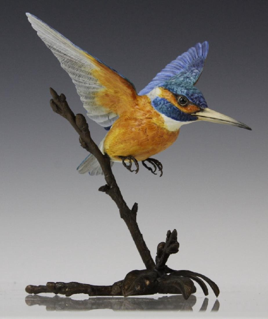 Albany Worcester Porcelain Kingfisher Bird On Bronze