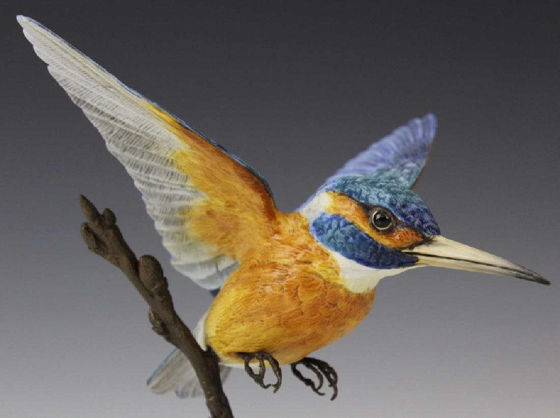 Albany Worcester Porcelain Kingfisher Bird On Bronze - 2