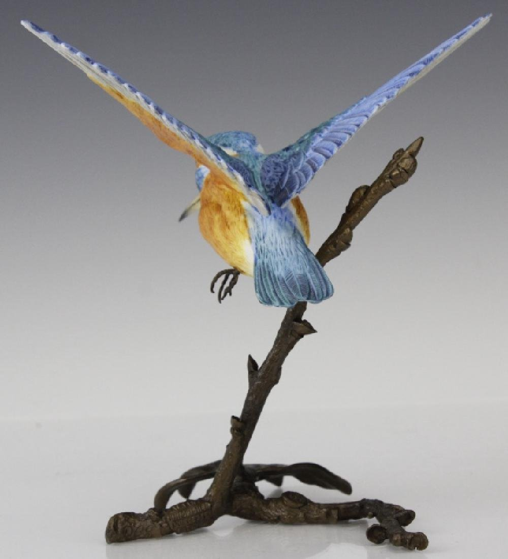 Albany Worcester Porcelain Kingfisher Bird On Bronze - 5