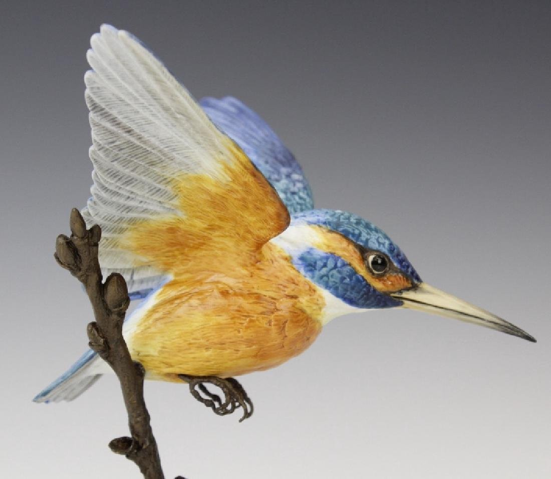 Albany Worcester Porcelain Kingfisher Bird On Bronze - 9