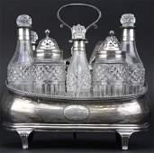 English Regency Era Sterling Silver Crystal Cruet Set