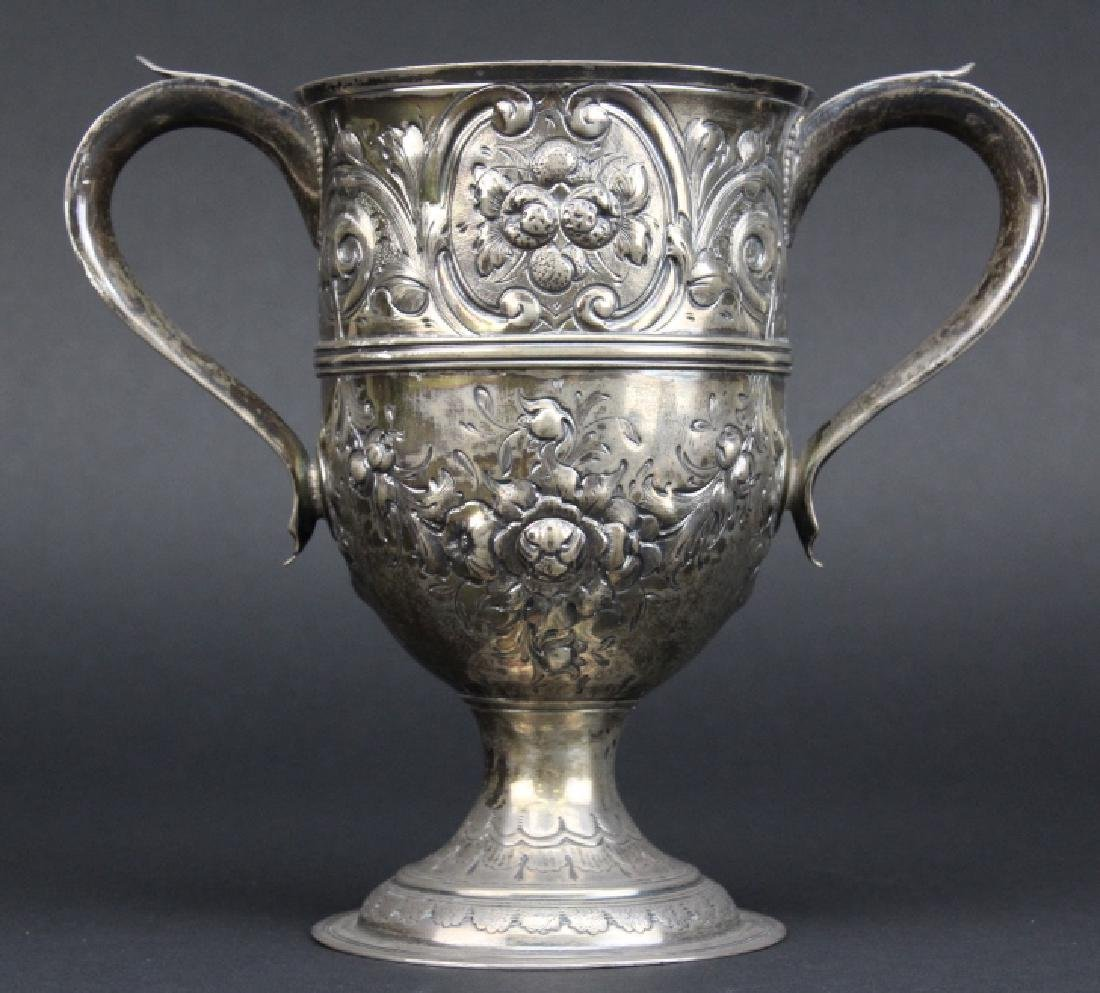 Early Peter Bateman Sterling Silver Repousse Loving Cup