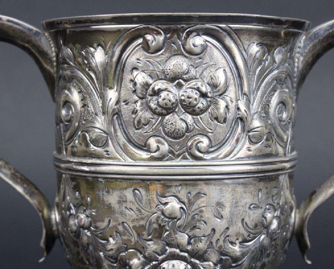 Early Peter Bateman Sterling Silver Repousse Loving Cup - 2