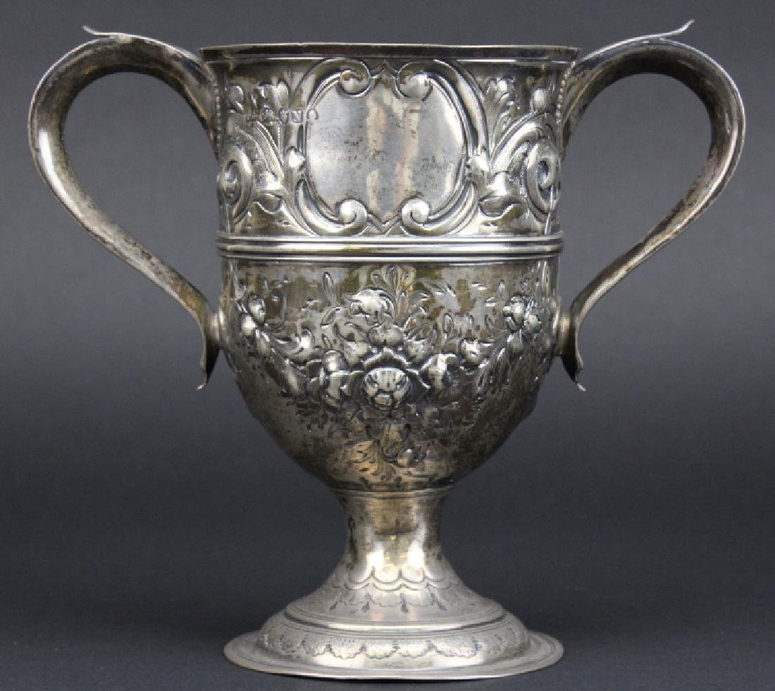 Early Peter Bateman Sterling Silver Repousse Loving Cup - 4