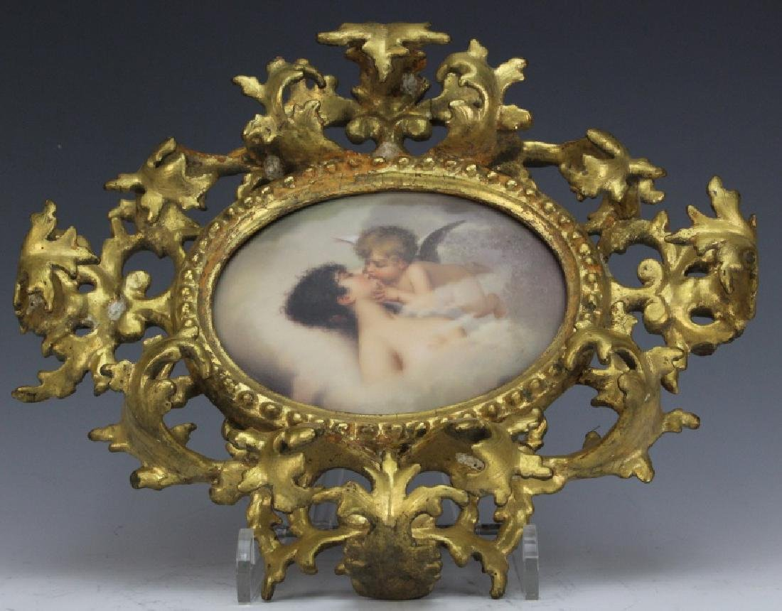 FINE German KPM Type Porcelain Angel Kiss Plaque FRAMED