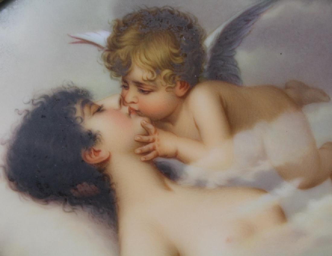 FINE German KPM Type Porcelain Angel Kiss Plaque FRAMED - 8