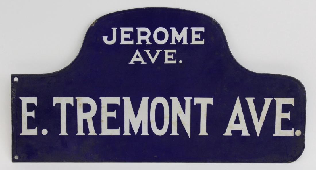 New York City Tremont Ave Blue Enamel NYC Street Sign