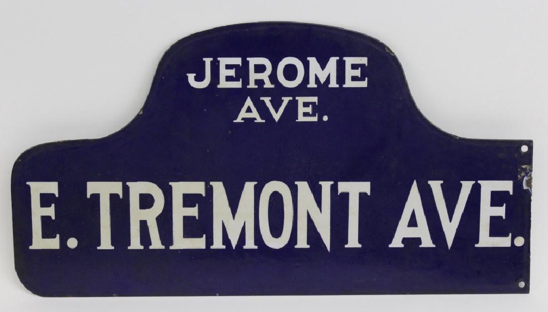 New York City Tremont Ave Blue Enamel NYC Street Sign - 2