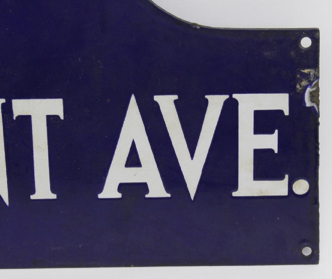 New York City Tremont Ave Blue Enamel NYC Street Sign - 3