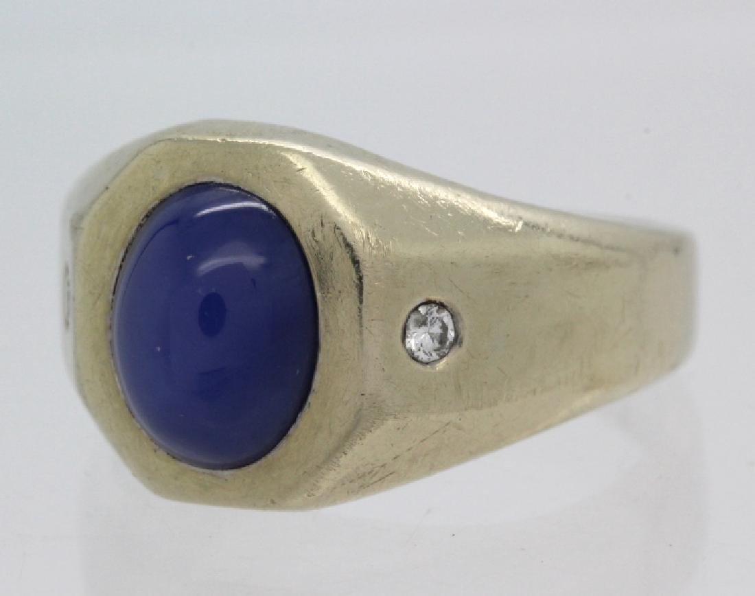 Men's White 14k Gold & Lindy Star Sapphire Ring - 2