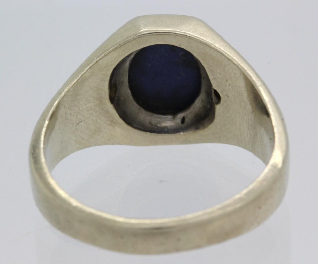Men's White 14k Gold & Lindy Star Sapphire Ring - 6