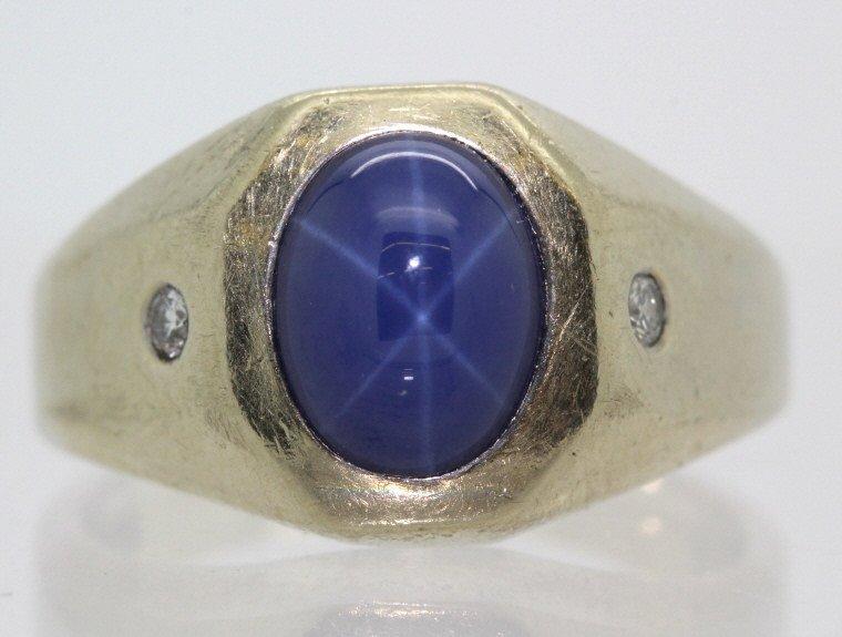 Men's White 14k Gold & Lindy Star Sapphire Ring - 7