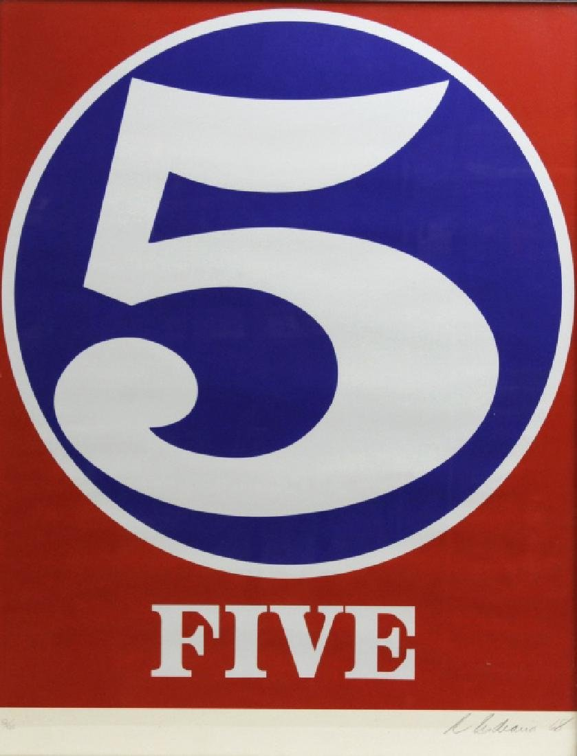 Signed Robert Indiana USA Numbers Series FIVE 5 Print