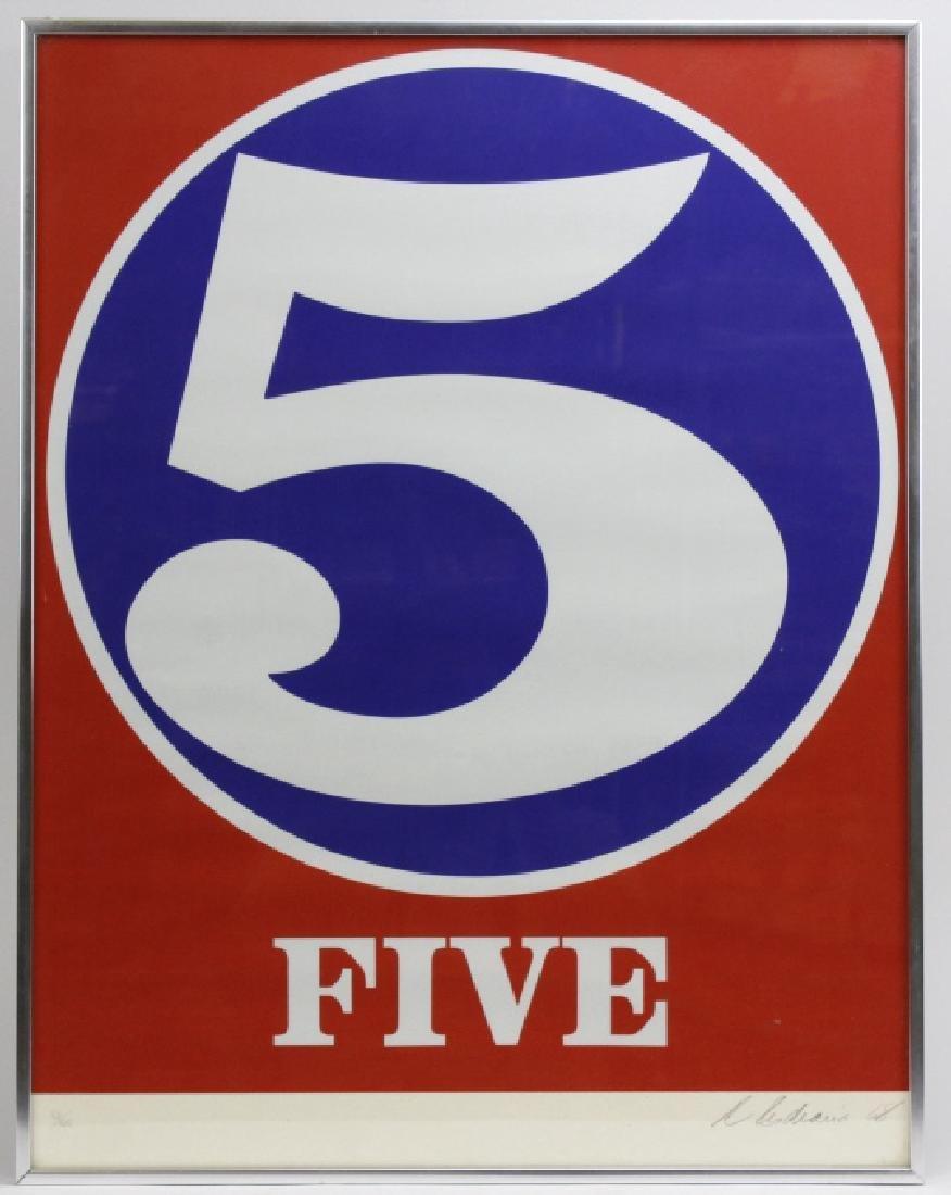Signed Robert Indiana USA Numbers Series FIVE 5 Print - 2