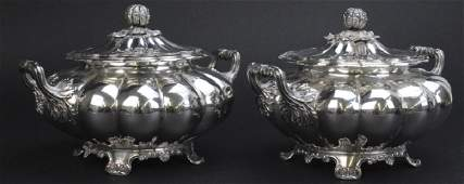 Pair Antiqu Sheffield Silver Plate Melon Fluted Tureens