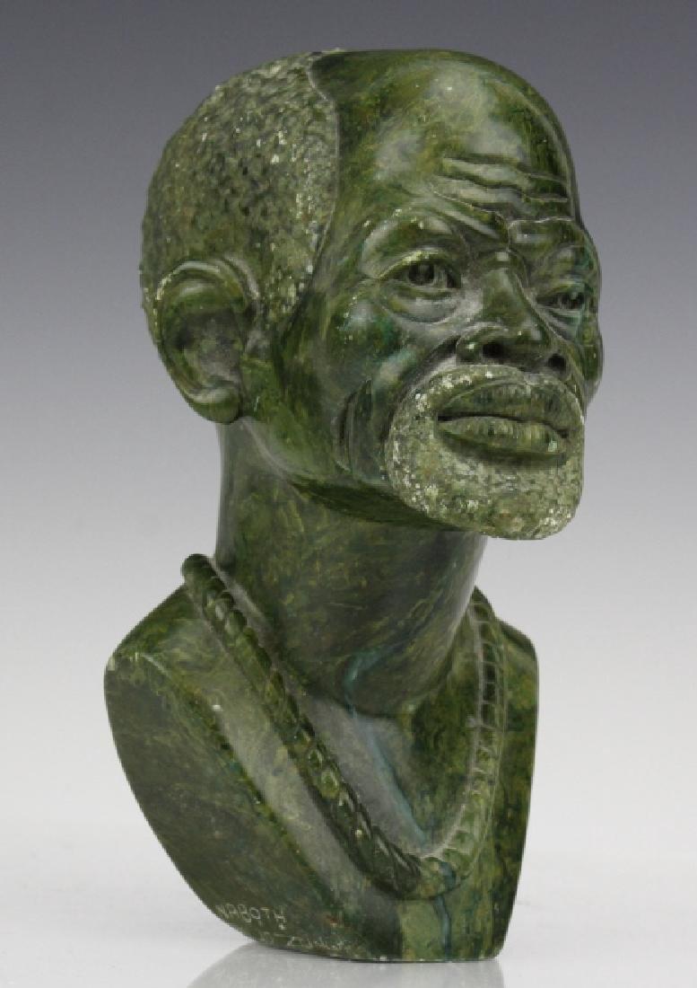 African Signed Naboth Verdite Shona Sculpture Bust FINE