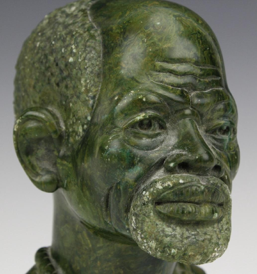 African Signed Naboth Verdite Shona Sculpture Bust FINE - 2