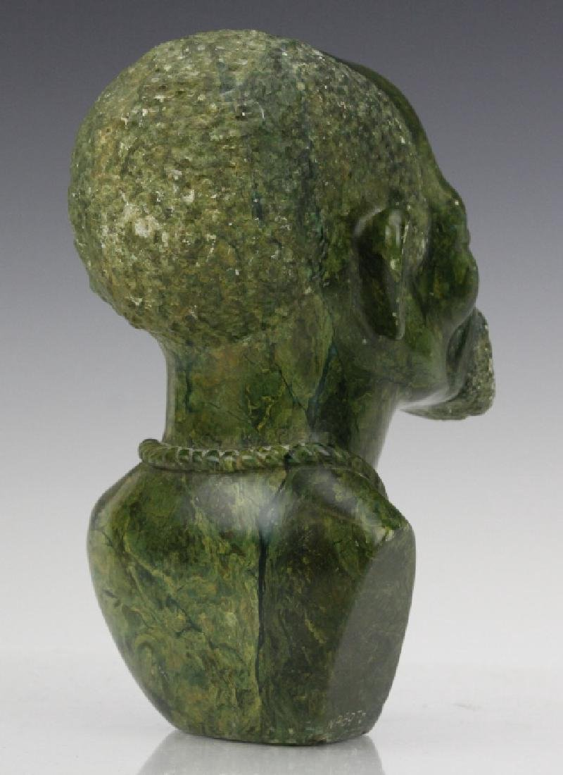 African Signed Naboth Verdite Shona Sculpture Bust FINE - 3