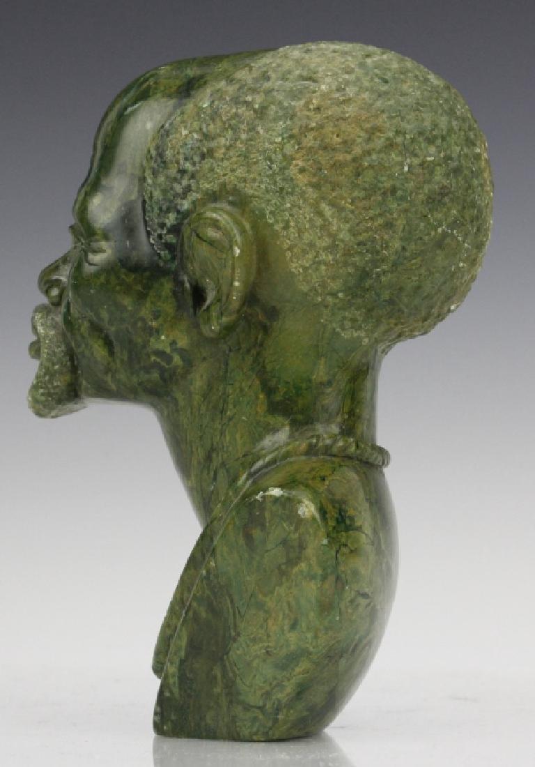 African Signed Naboth Verdite Shona Sculpture Bust FINE - 4