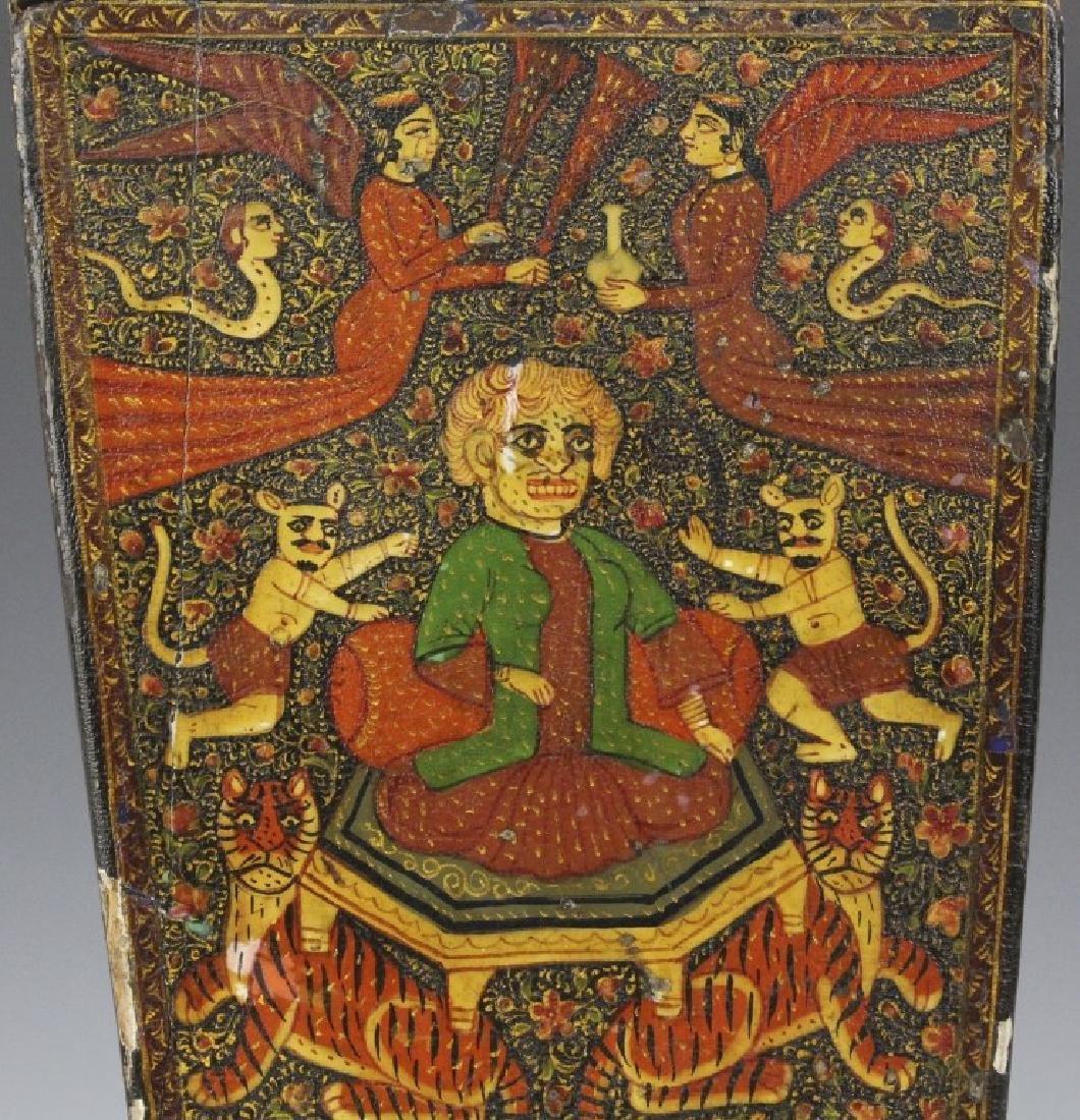 PAIR 19th Century Kashmir Indian Figural Lacquer Vases - 10