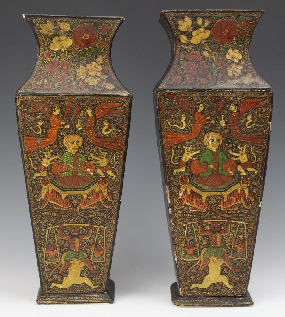 PAIR 19th Century Kashmir Indian Figural Lacquer Vases
