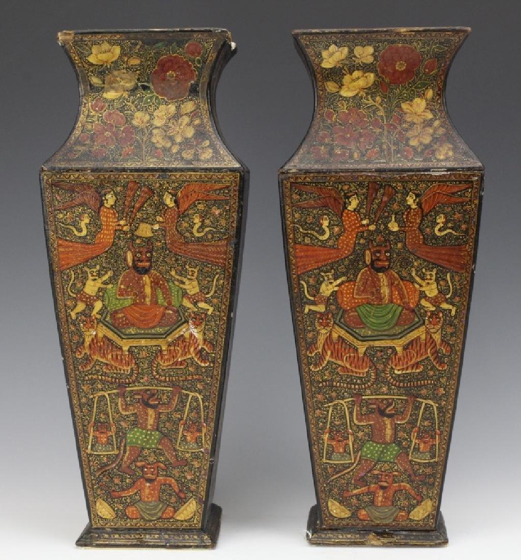 PAIR 19th Century Kashmir Indian Figural Lacquer Vases - 2