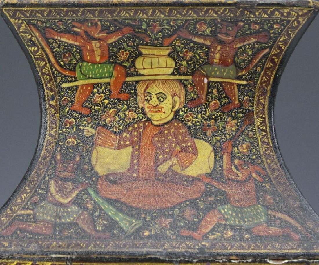 PAIR 19th Century Kashmir Indian Figural Lacquer Vases - 4