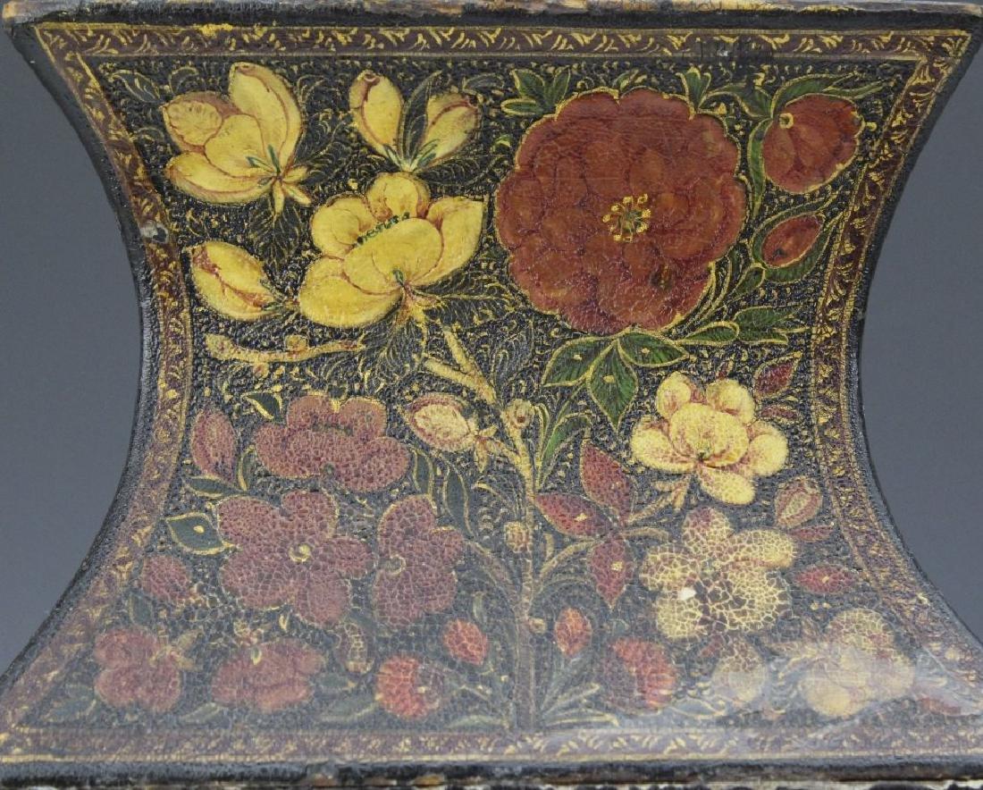 PAIR 19th Century Kashmir Indian Figural Lacquer Vases - 5