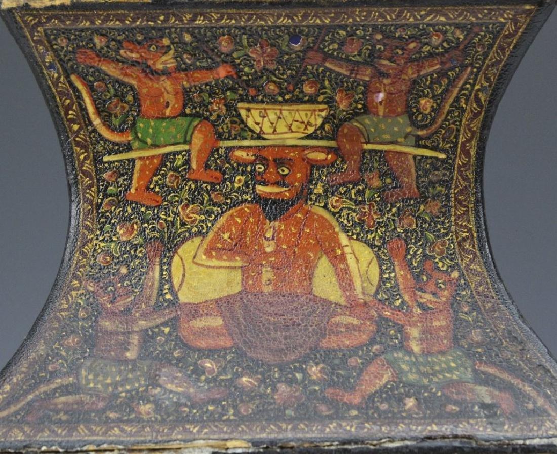 PAIR 19th Century Kashmir Indian Figural Lacquer Vases - 6