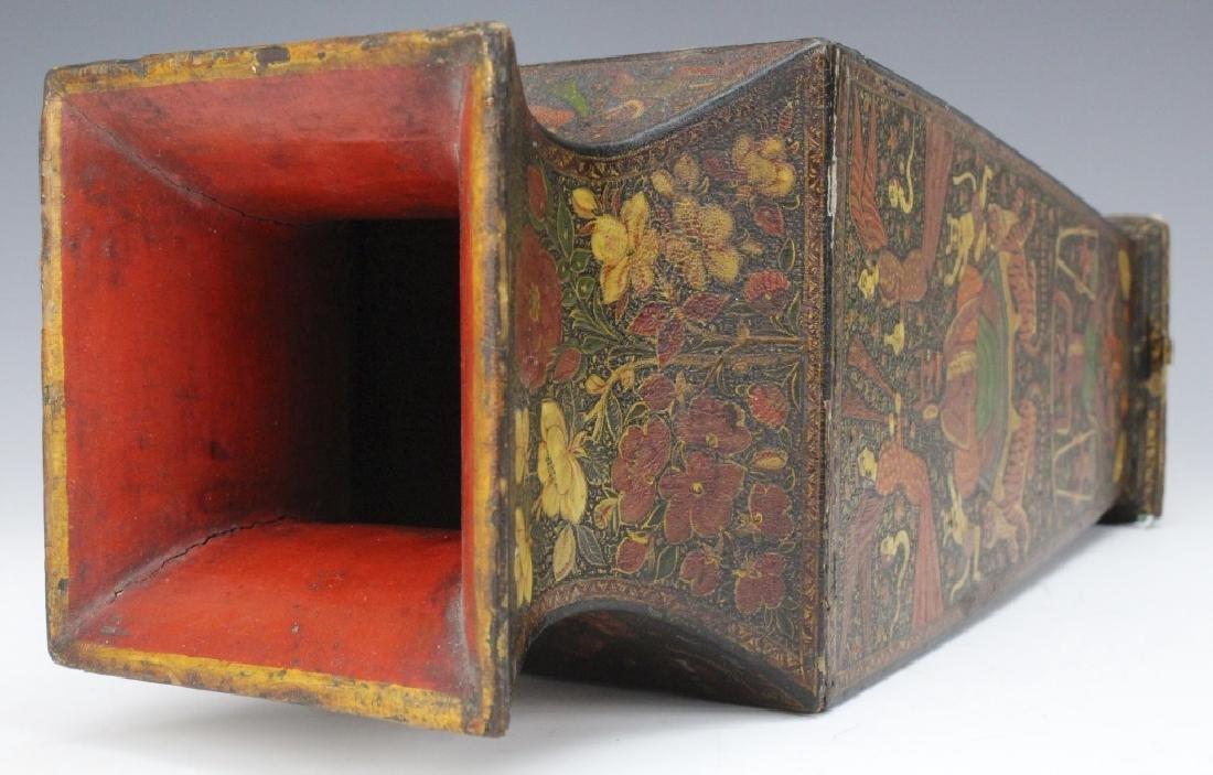 PAIR 19th Century Kashmir Indian Figural Lacquer Vases - 7