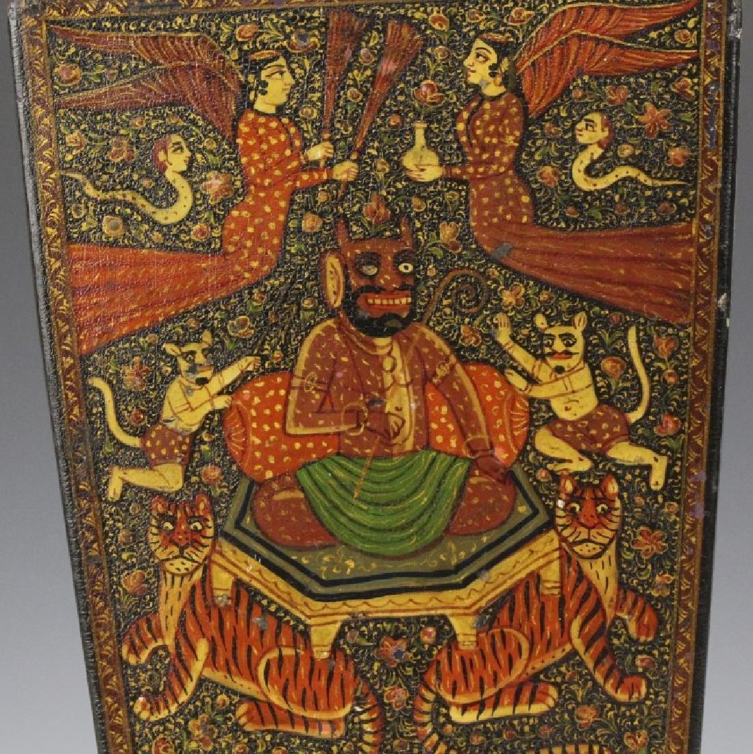 PAIR 19th Century Kashmir Indian Figural Lacquer Vases - 9