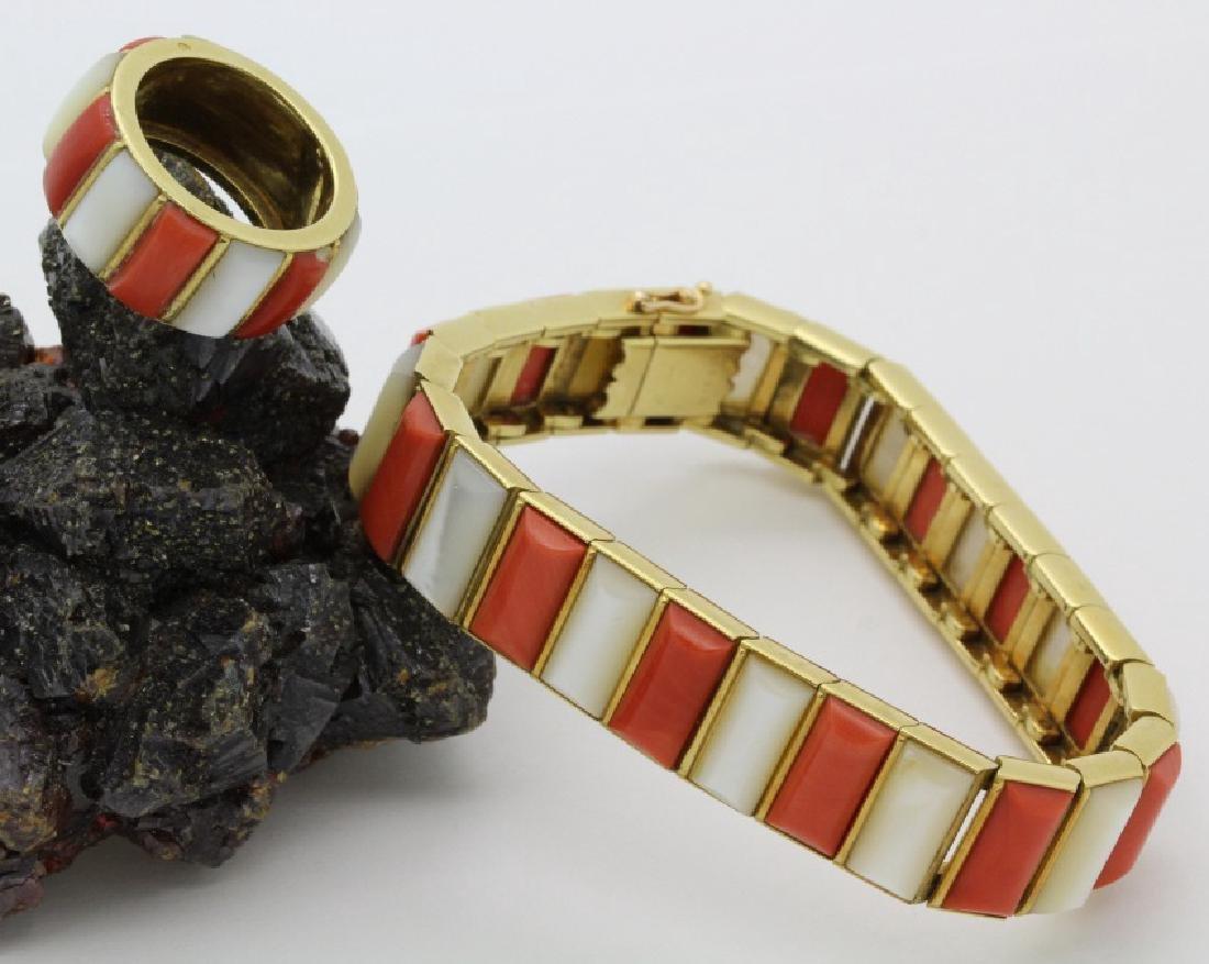 Vtg CARTIER 18K Gold Red Coral MOP Ring & Bracelet SET