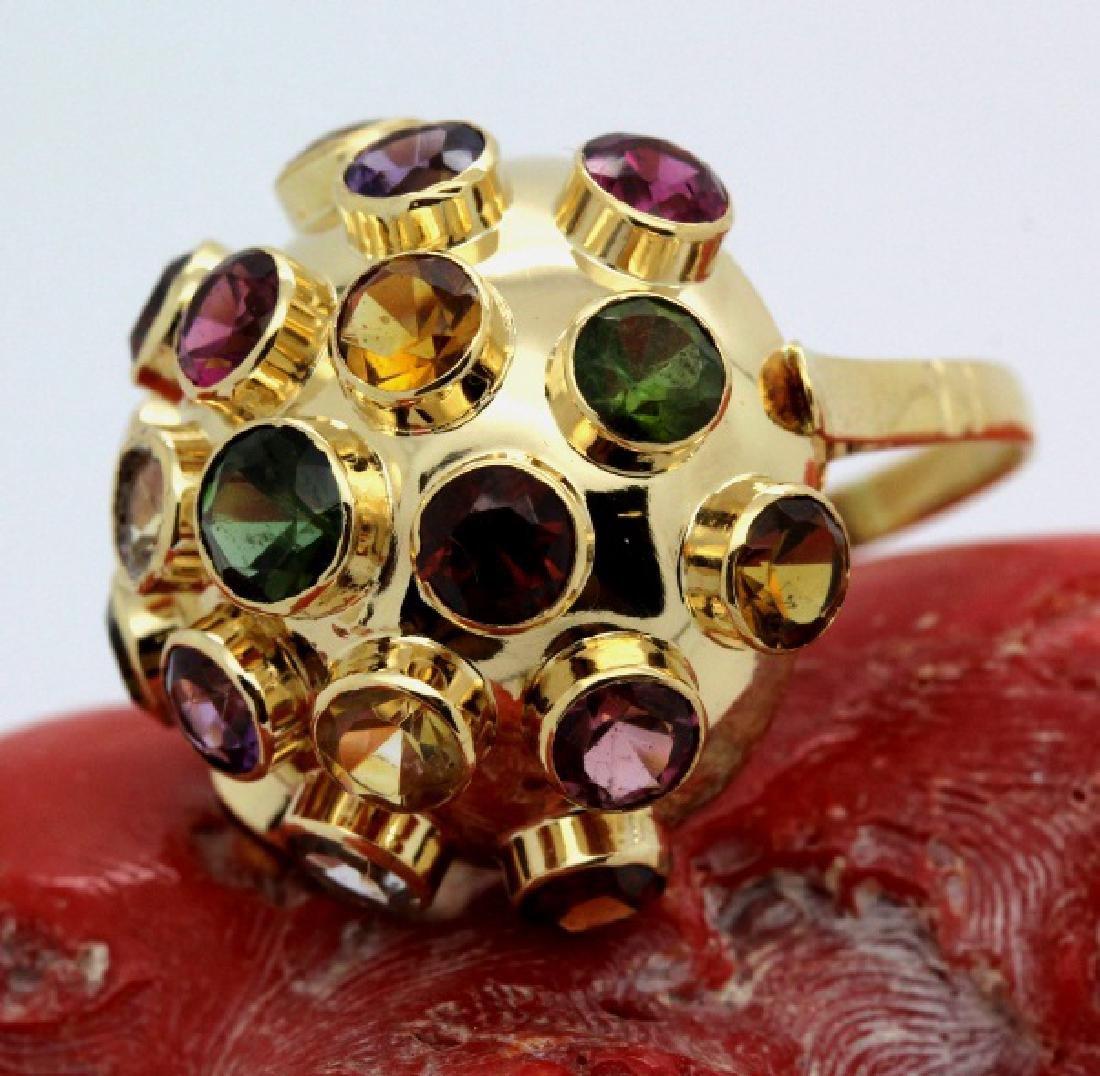 H. Stern 18k Gold Sputnik Gemstone Ring Sz 7.5 VINTAGE