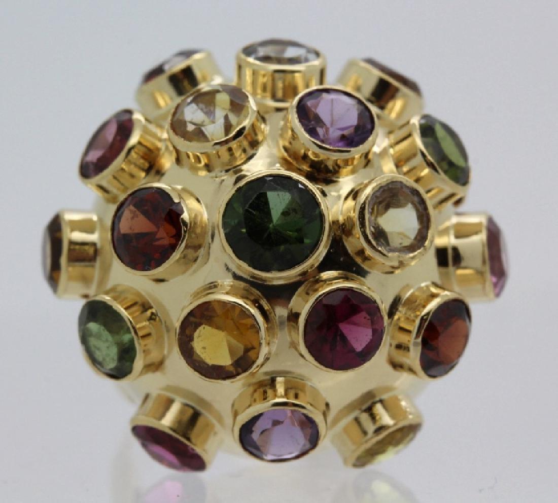 H. Stern 18k Gold Sputnik Gemstone Ring Sz 7.5 VINTAGE - 2
