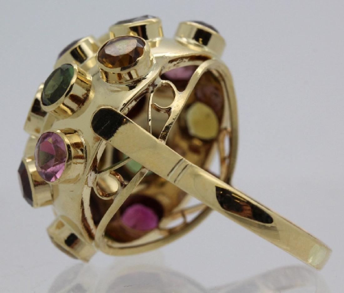 H. Stern 18k Gold Sputnik Gemstone Ring Sz 7.5 VINTAGE - 3