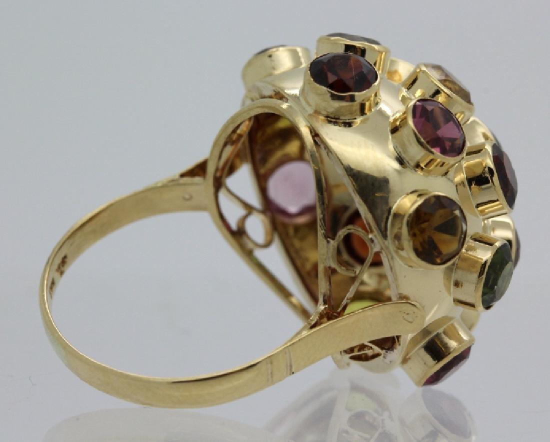 H. Stern 18k Gold Sputnik Gemstone Ring Sz 7.5 VINTAGE - 4