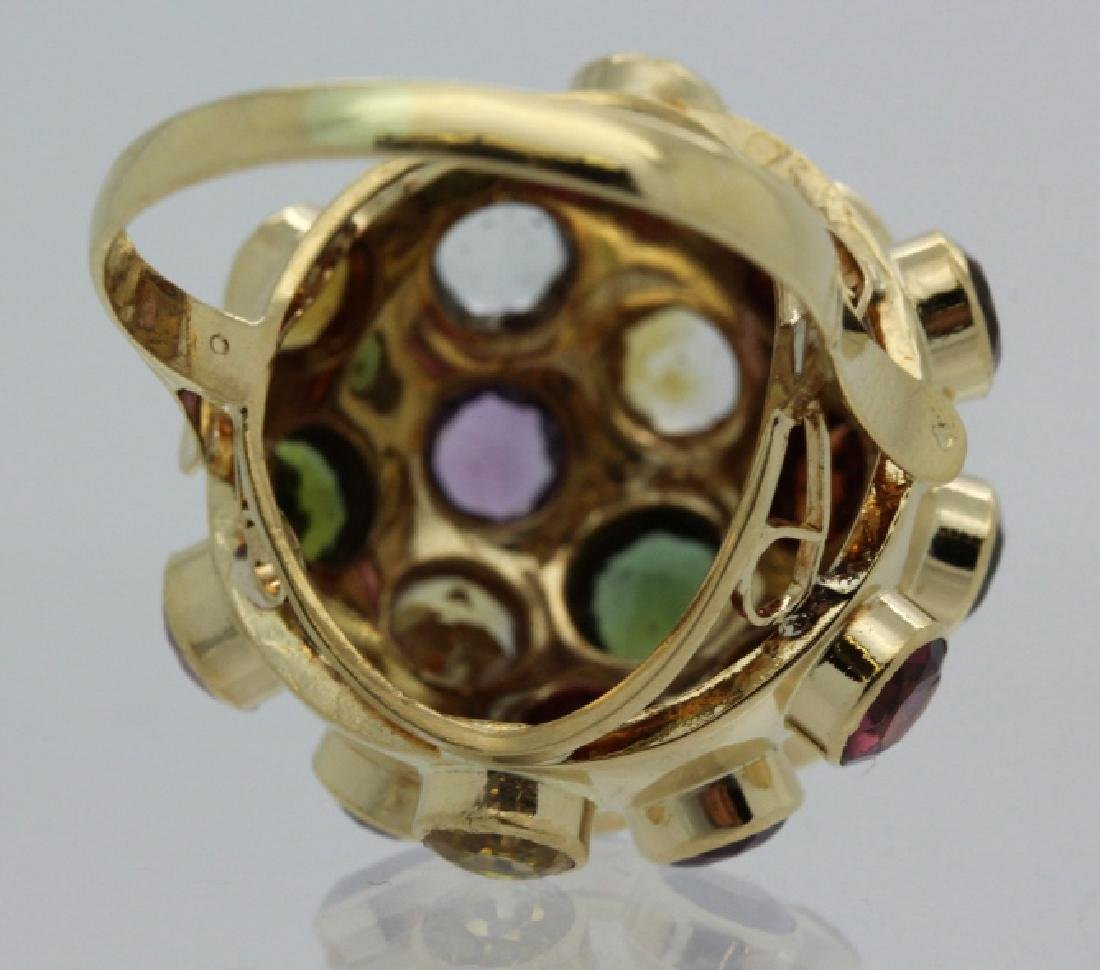 H. Stern 18k Gold Sputnik Gemstone Ring Sz 7.5 VINTAGE - 6