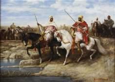 Signed Richardson Arabian Horse Rider Oil Painting FINE