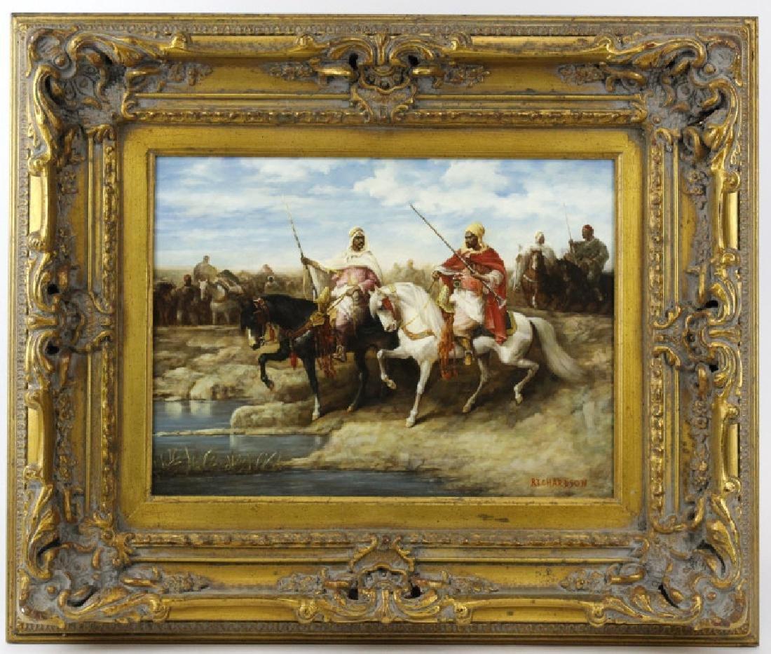 Signed Richardson Arabian Horse Rider Oil Painting FINE - 2