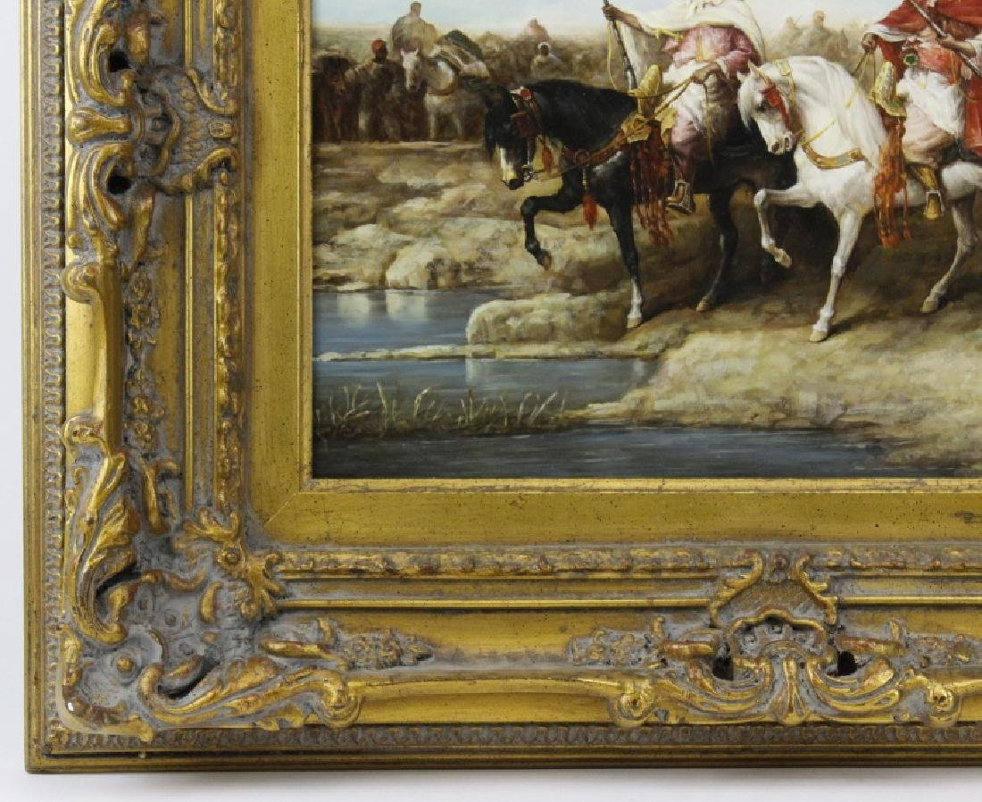 Signed Richardson Arabian Horse Rider Oil Painting FINE - 5