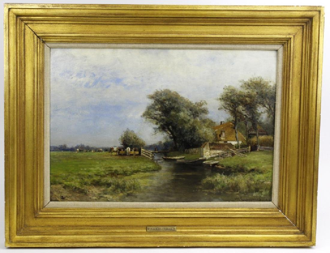 Signed Schipperns Oil On Board Pastoral Painting FRAMED