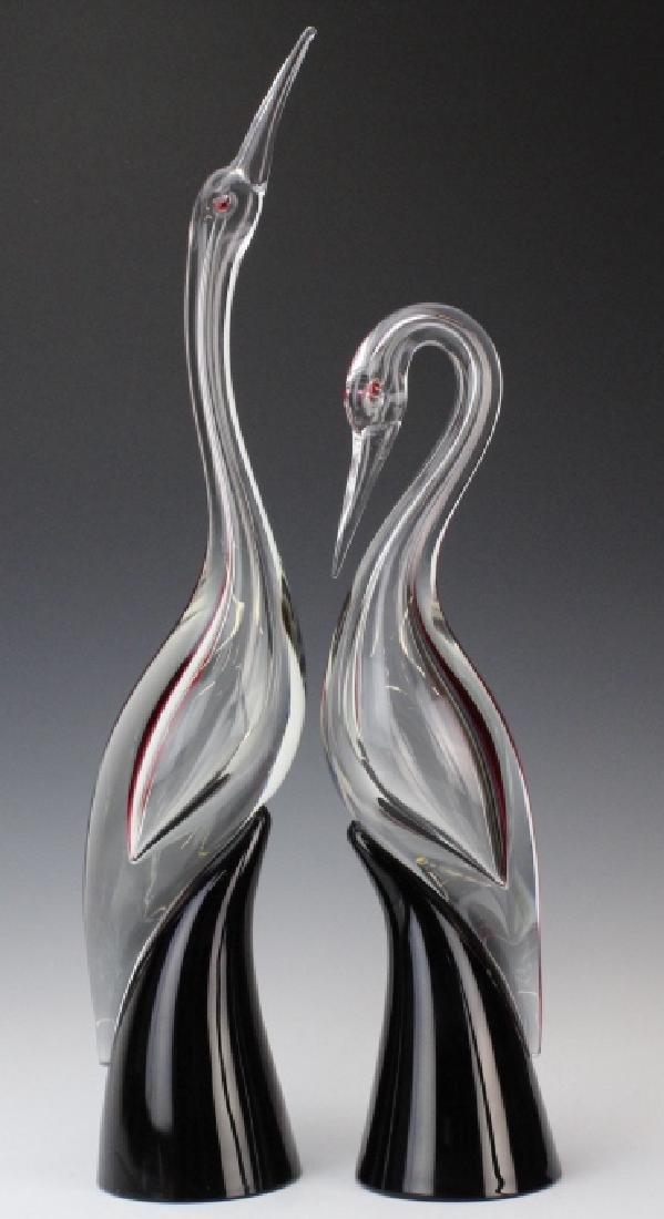 PAIR Cenedese Murano Art Glass Heron Bird Sculptures