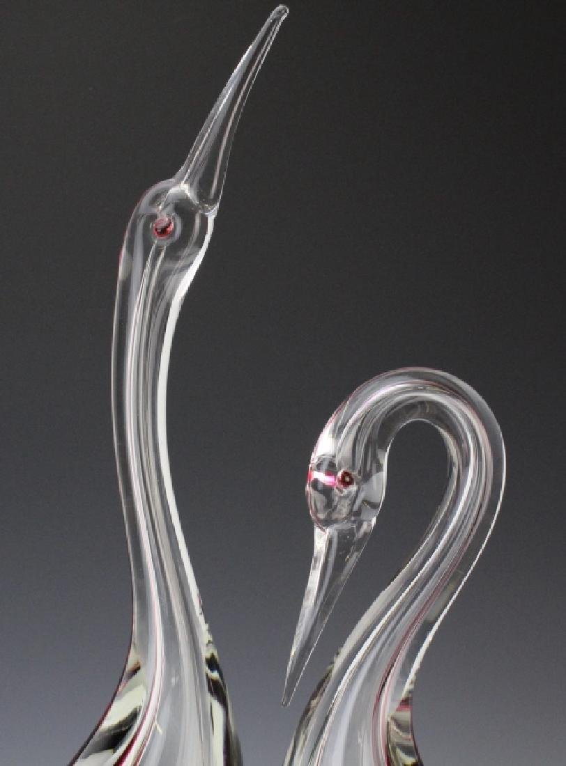 PAIR Cenedese Murano Art Glass Heron Bird Sculptures - 2